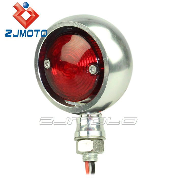ZJMOTO Polish License Plate Rear Lamps Aluminum Round Motorcycle LED Tail Lights Fit to Cafe Racer Chopper Bobber Sportster