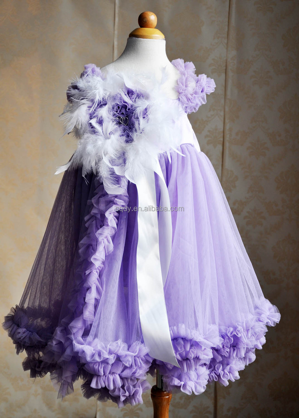 Purple Tulle Party Dress With Feather Head Band Cinderella