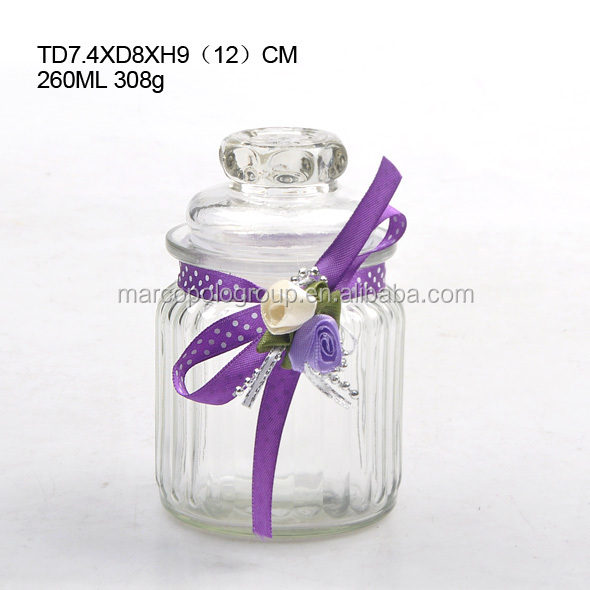 260ML airtight glass candy jar with glass lid in various shape