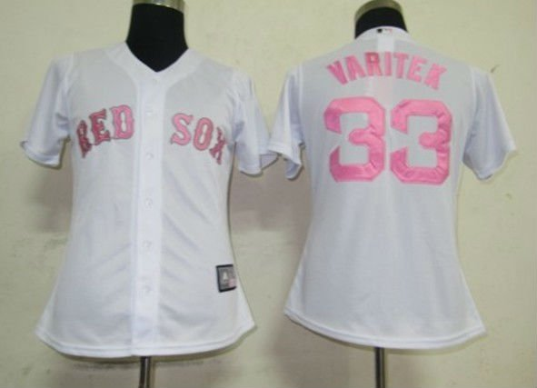 Women Jerseys Boston Red Sox #33 Varitek White Baseball Softball