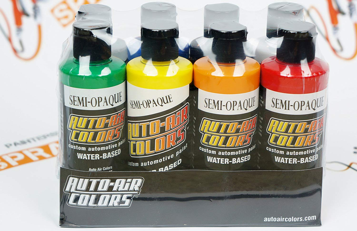 Createx Auto-Air colors Semi-Opaque Paint Set 4oz. each 7 colors + reducer. by SprayGunner