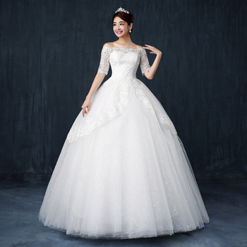 Zh0072j Korean Style Wedding Dress A Line Bag Flower Ball Gown Luxury Diamond Together
