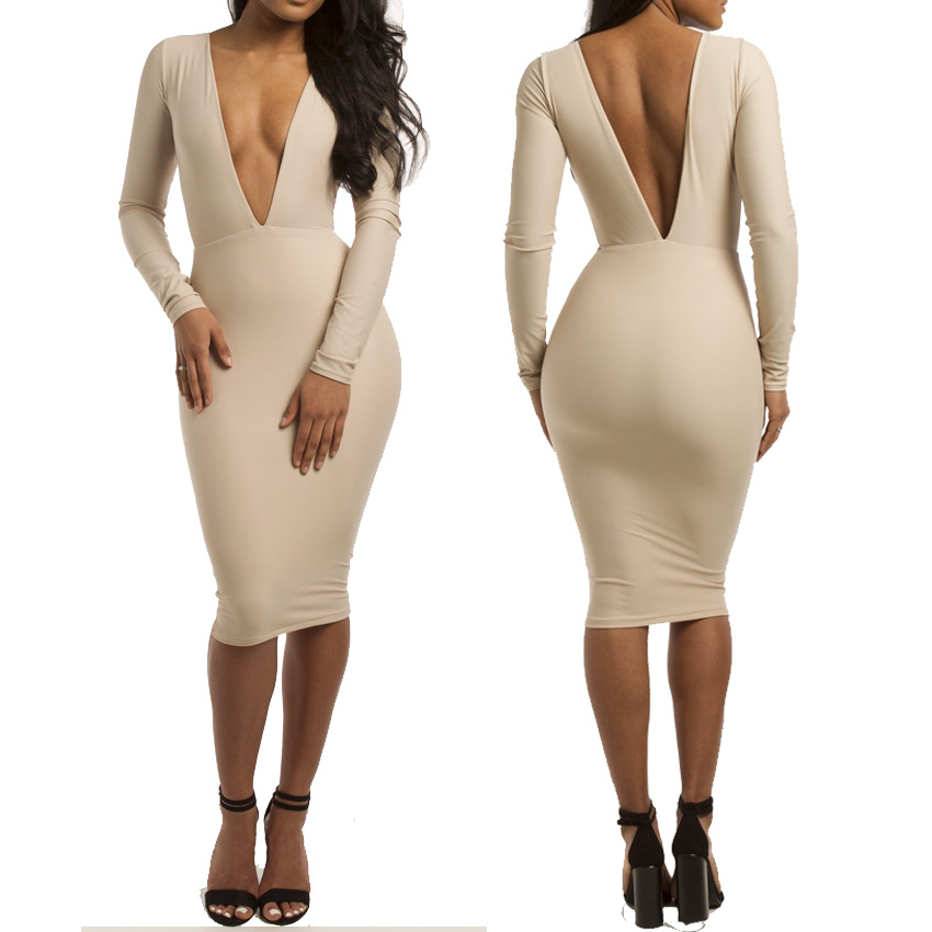 ae3ebf0d4e Buy Sexy tight bandage dress deep V Neck dress Sexy Ladies Club sexy Dress  Long-sleeve bandaged sexy tight dress in Cheap Price on Alibaba.com