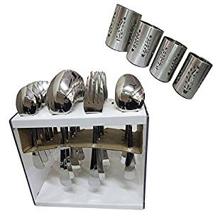 DCS Tidy Cutlery With Stand Set Of 24 Pcs & Cutlery Stand Of 4 Pcs (Set Of 2 Combo) 3.5 In Silver