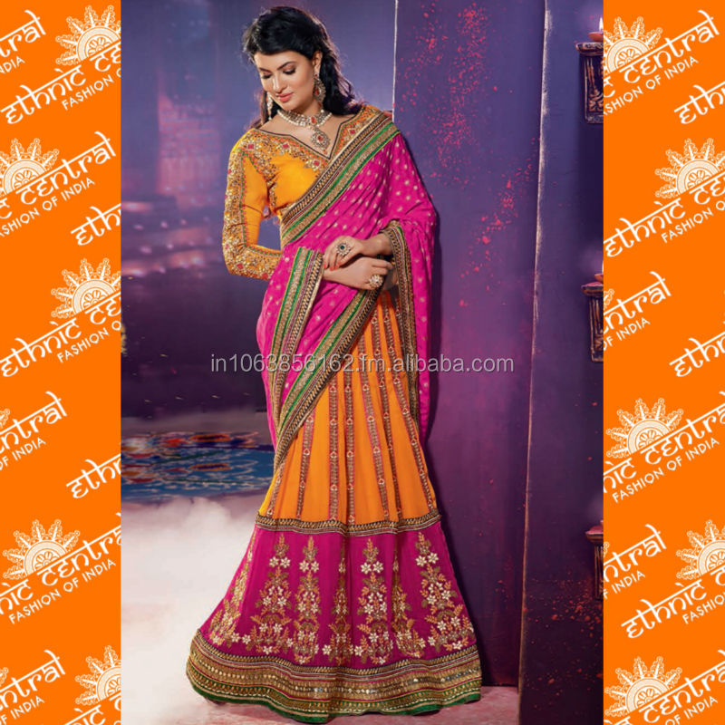 ETHNIC CENTRAL's fancy designer party wear lehenga style bollywood saree at wholesale price in surat india