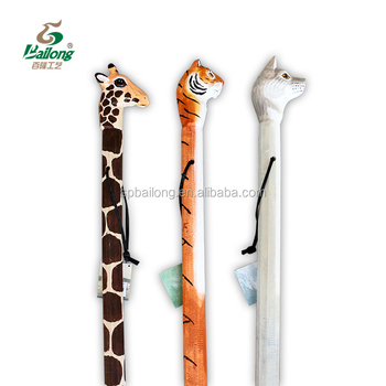 15 years factory outdoor hiking pole zoo animal head wooden carved walking stick