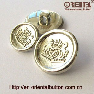 Elegant ABS round mist silver button in 28L with special crown on concave surface