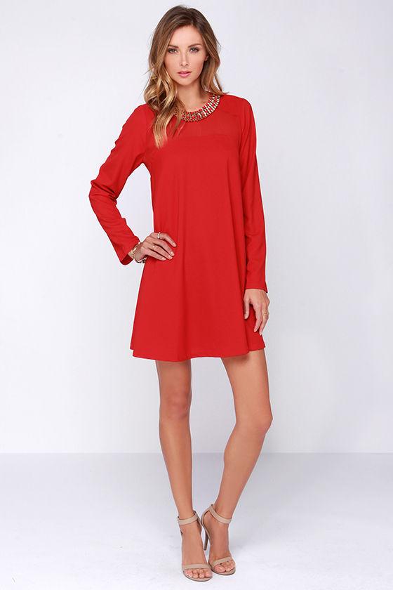 2016 Red Chiffon Jewellery Neck Long Sleeve Custom Wholesale Shift ...