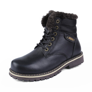 high quality Large size 12 warm big size Genuine Leather military boots shoes for men winter boot