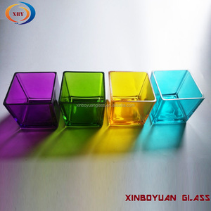 Square Glass Candle Jars colored Candle Votive For Candles