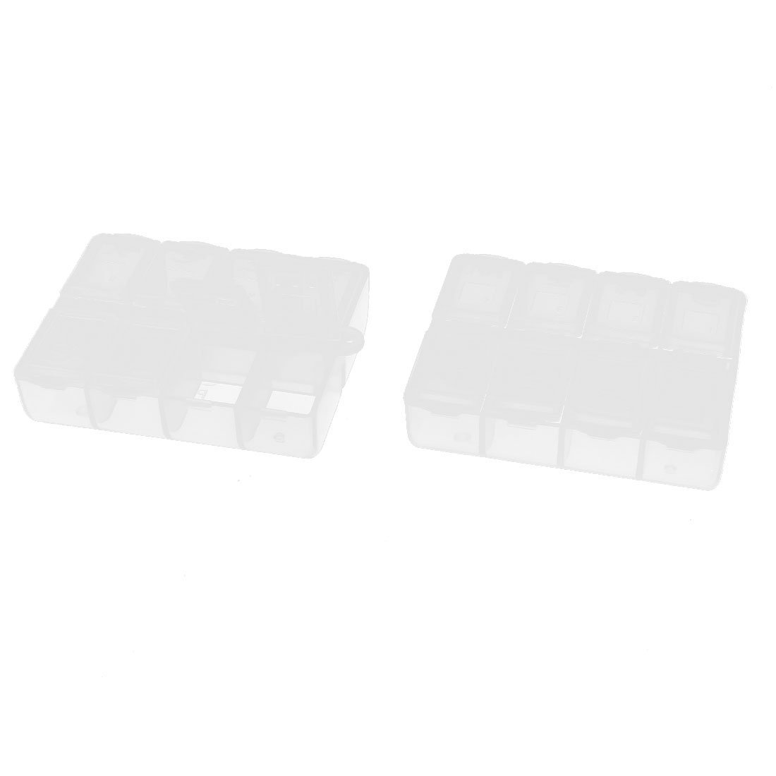 Aexit 2 Pcs Tool Organizers 8 Grid SMD SMT DIY Component Plastic Mini Storage Box Tool Boxes Case Clear