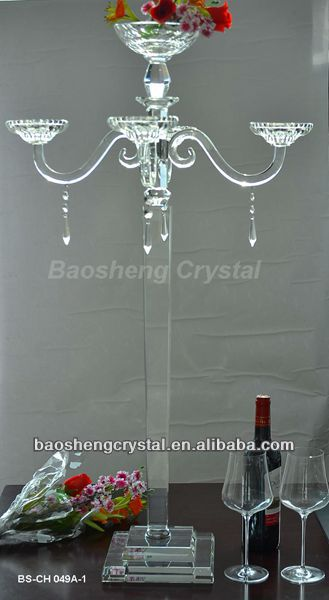 Latest 5 Arms Crystal Tall Candelabra with flower bowl for wedding centerpieces (BS-CH049A)