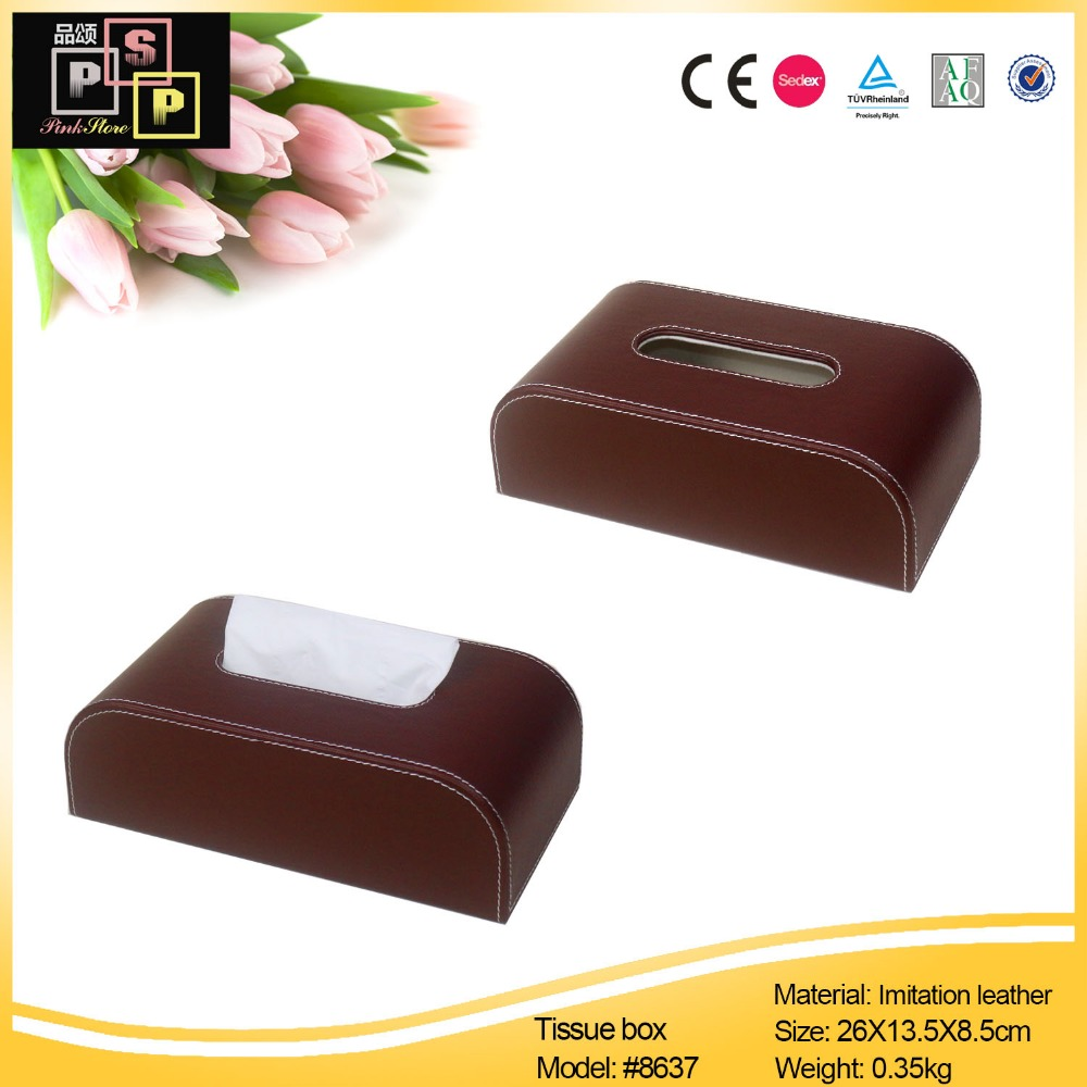 rectangular PU leather facial tissue napkin box toilet paper dispenser case holder home office decoration