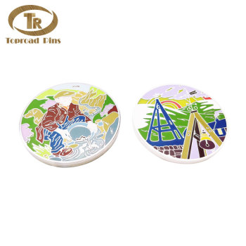 Wholesale custom design color enamel pattern commemorative  round challenge coin