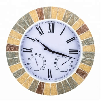 17 3 Oversized Faux Stone Indoor Or Outdoor Wall Vintage Clock With Thermometer And Hygrometer