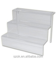 clear acrylic tabletop sheft display riser/acrylic riser display/acrylic cube