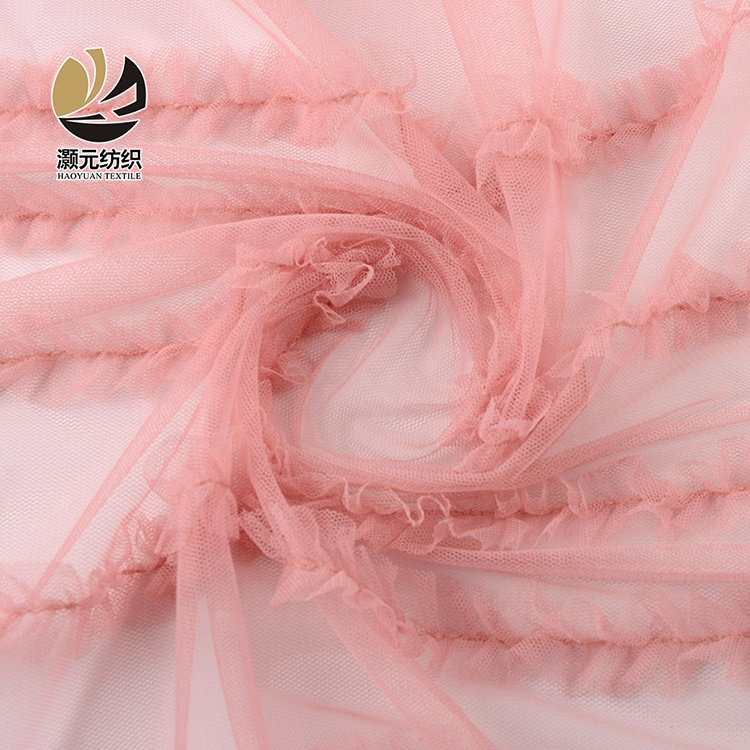 nice design 100 polyester different color  tulle high quality lace fabric for wedding dress