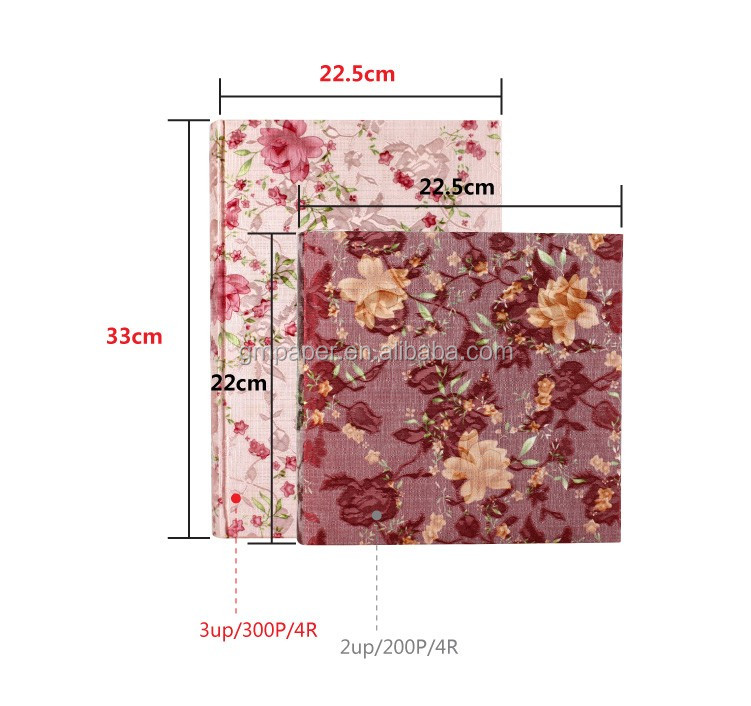 Flower Fabric Cover Book Bound Paper Slip In Photo Album With 4R 3up 50 Sheets