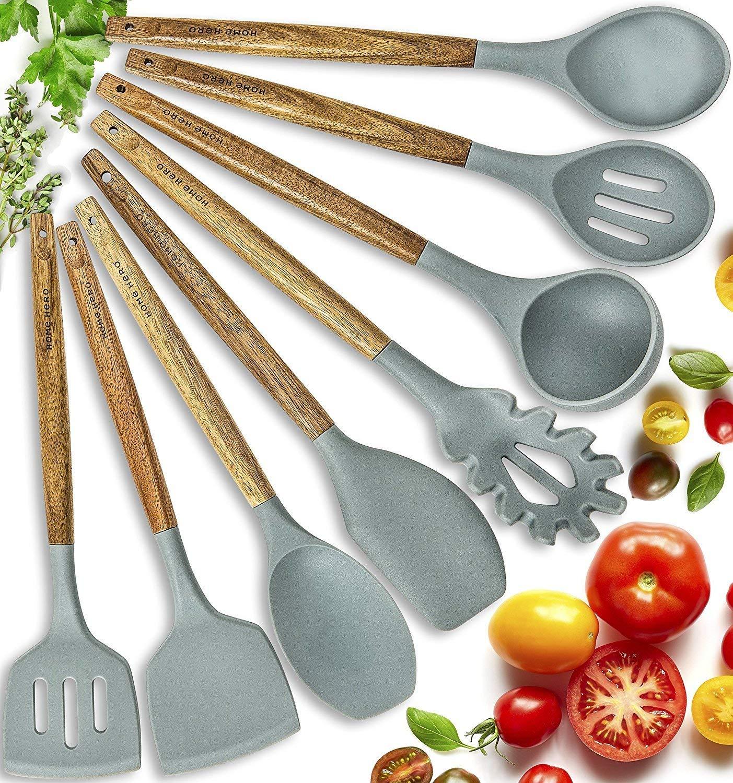 Silicone Cooking Utensils Kitchen Utensil set - 8 Natural Acacia Wooden Silicone Kitchen Utensils Set - Silicone Utensil Set Spatula Set - Silicone Utensils Cooking Utensil Set - Kitchen Tools Gadgets