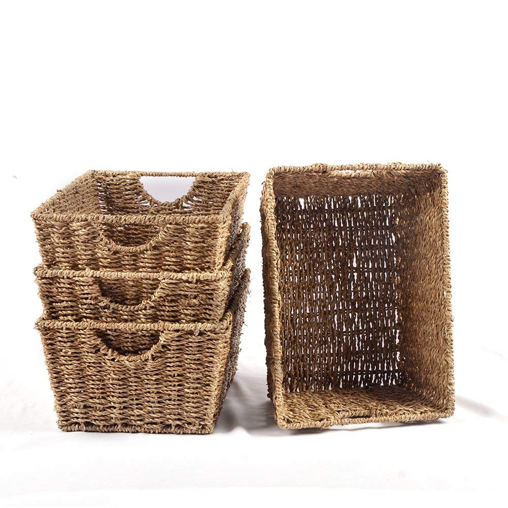 Haneye Seagrass Baskets set of 4, Woven Seagrass Storage Baskets with Insert Handles for Bathroom & Home Organization