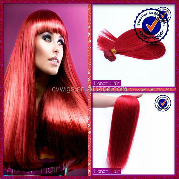 Factory price red human hair any color can be dyed indian remi hair extensions in bangalore