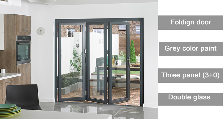 wooden color cheap interior folding doors for balcony with grill design MQ-227