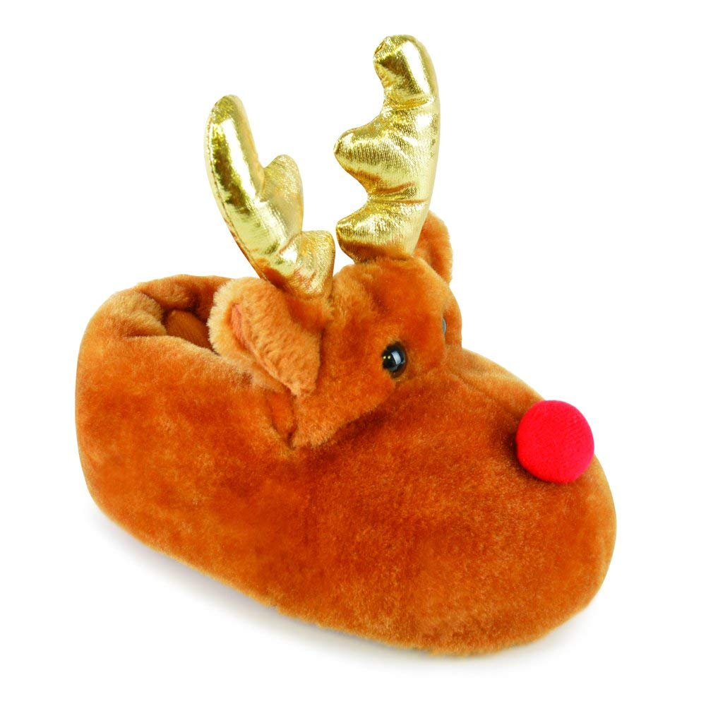 7c214869c Get Quotations · Childrens/Kids Boys/Girls Footwear Novelty Rudolph Slippers  With Woven Antlers, Various Sizes