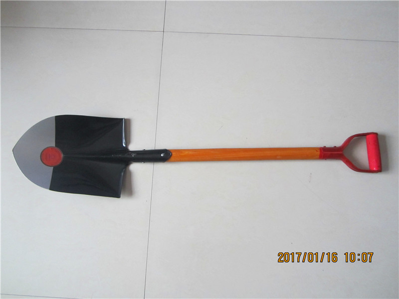 Rail Steel Round Mouth Wood Handle Garden Shovel S503 with D grip