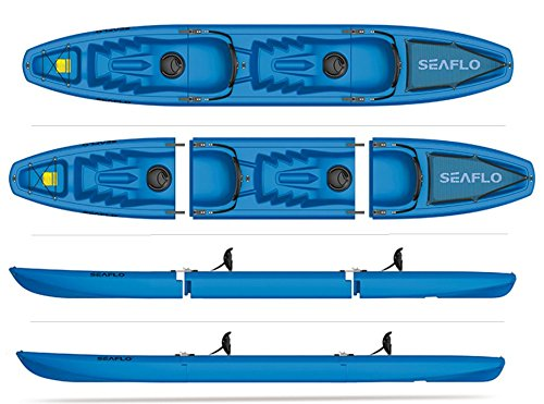 SEAFLO Tandem 3-Piece Modular Kayak 2-Person Sit-On-Top Model SF-3001T -Blue