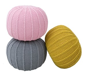 Wholesales Home Furniture Crochet Cotton Round Floor Pouffe OttOman 100% Handmade Knitted Cotton Yarn Pouf