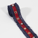 Fashion red eyelet trim lace ribbon with crystal