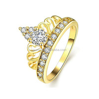 Stainless Steel Hers & Women's 18k Gold Plated Cubic Zirconia Princess Crown Tiara Ring