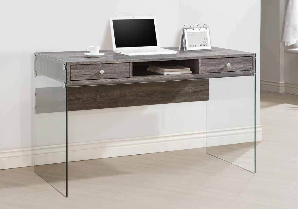 1PerfectChoice Contemporary Home Office Computer Writing Desk Glass Sides Drawer Weathered Grey