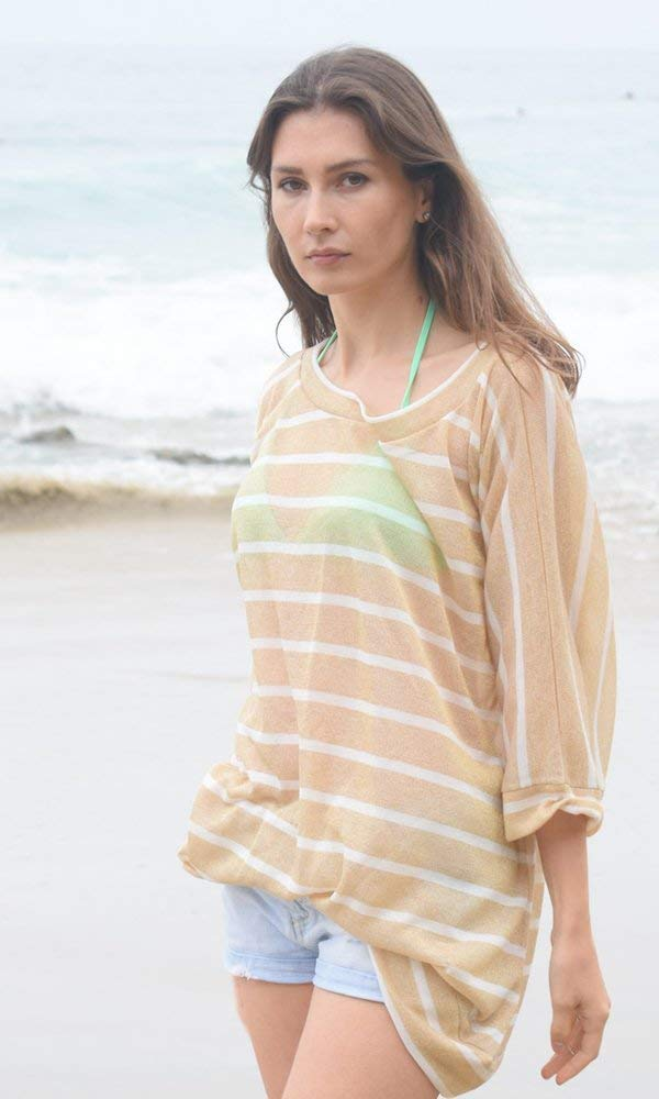e9e3fd02147b6a Get Quotations · Gold and White Stripe Off Shoulder Dolman Beach Summer  Sweater Top