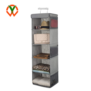 Roomy Breathable Shelf Hanging Closet Organizer Space Saver with 6 Side Accessories Pockets