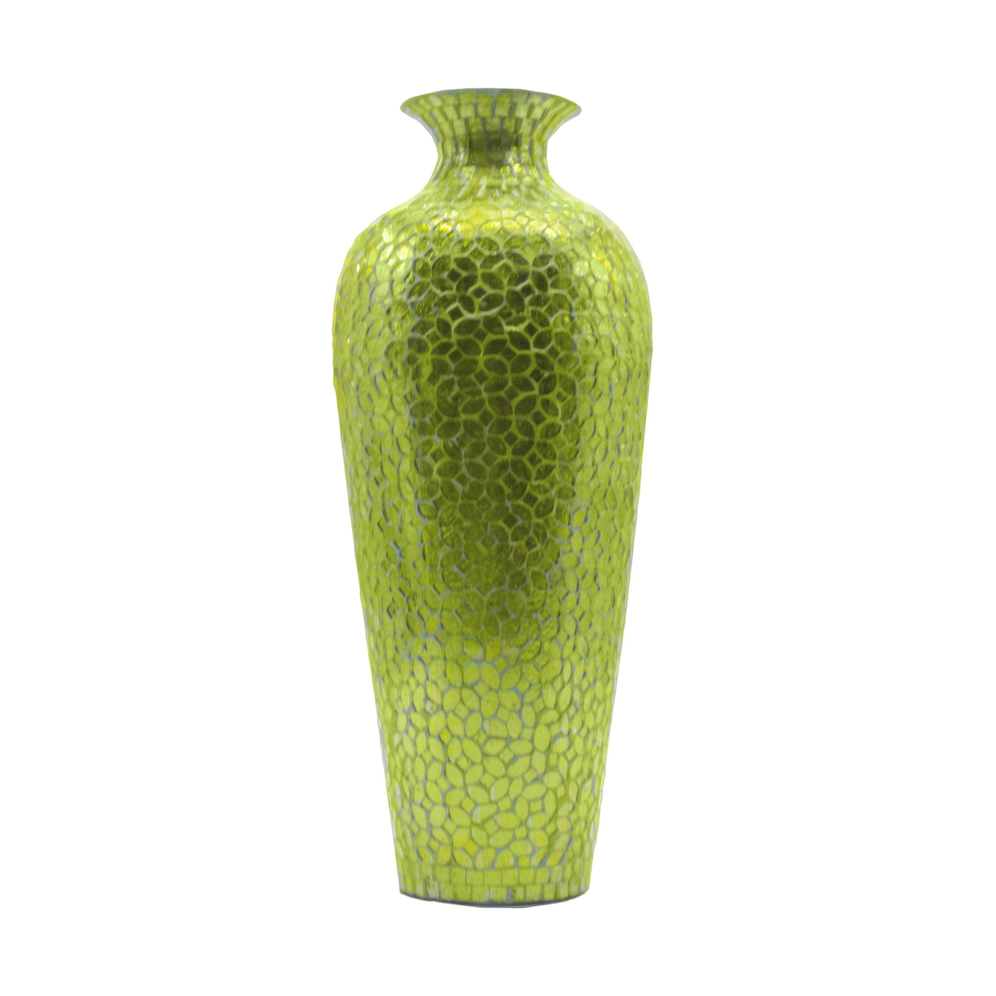 Get quotations · decorshore vedic vase sparkling metal floor vase with floral pattern glass mosaic inlay 20