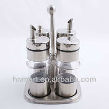 good quality stainless steel salt and pepper bottle with caps