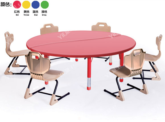 Preschool Kids Study Half Moon Dining Shape Table Chair Designs