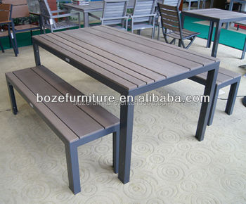 Aluminum Picnic Bench Plastic Wood Dining Table And Chair Garden Set