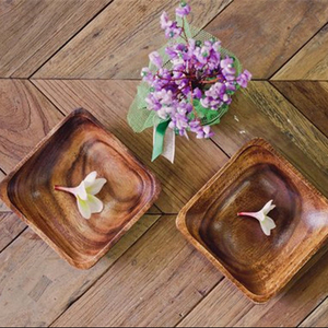 Vietnam lacquer Mini Handmade Acacia wood Square shaped bowls