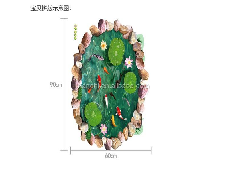 6090 Cm Lotus Daun Dan Kolam Ikan 3d Lantai Stiker Dinding Pvc