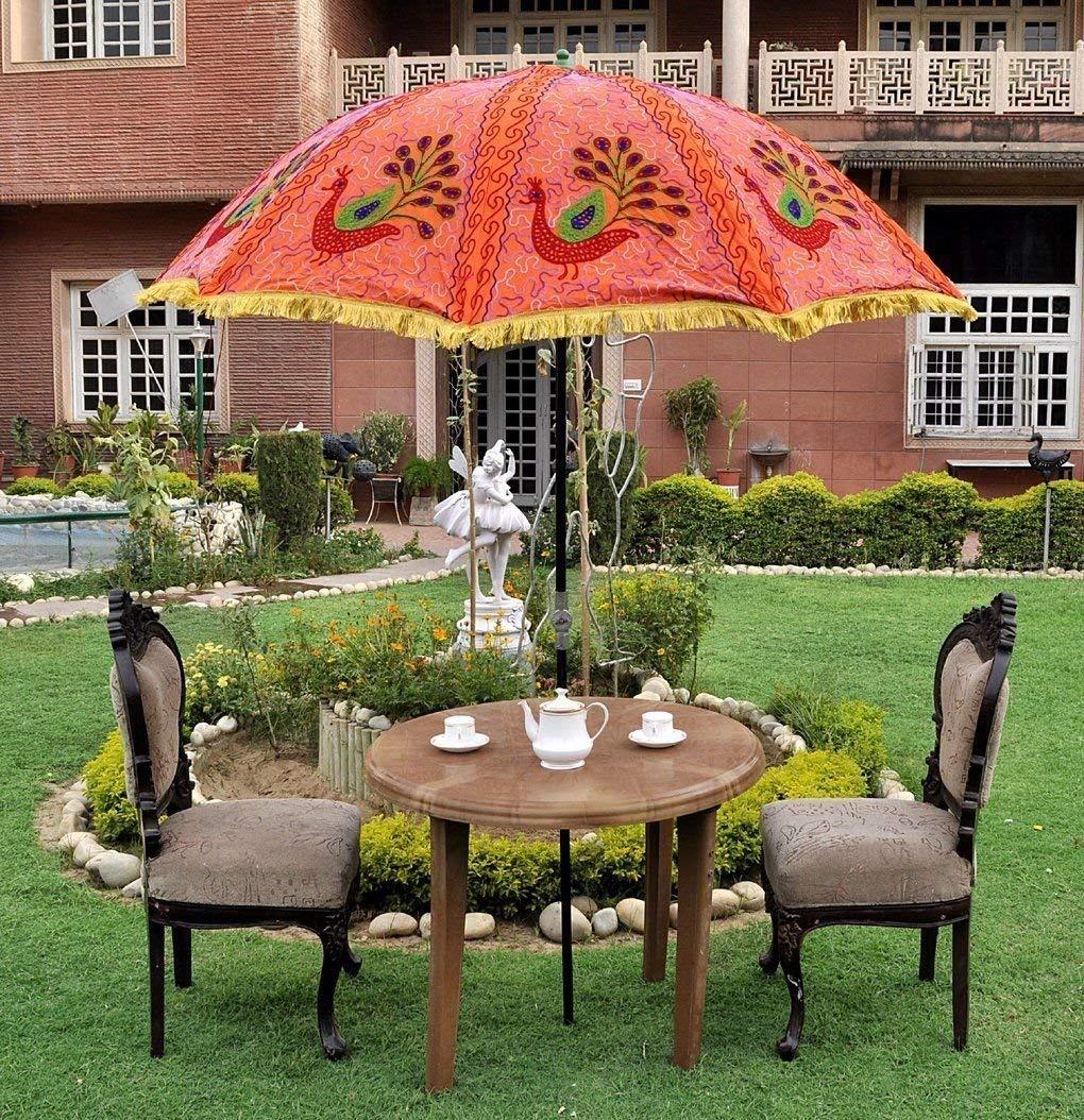 Get Quotations Megacraft Indian Garden Umbrella Sun Shade Patio Beach Parasol Outdoor Cotton Fl Multi