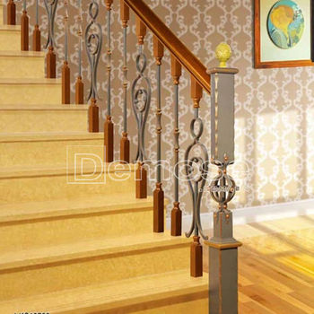 Prefab Metal Wrought Iron Stair Railings For Sale