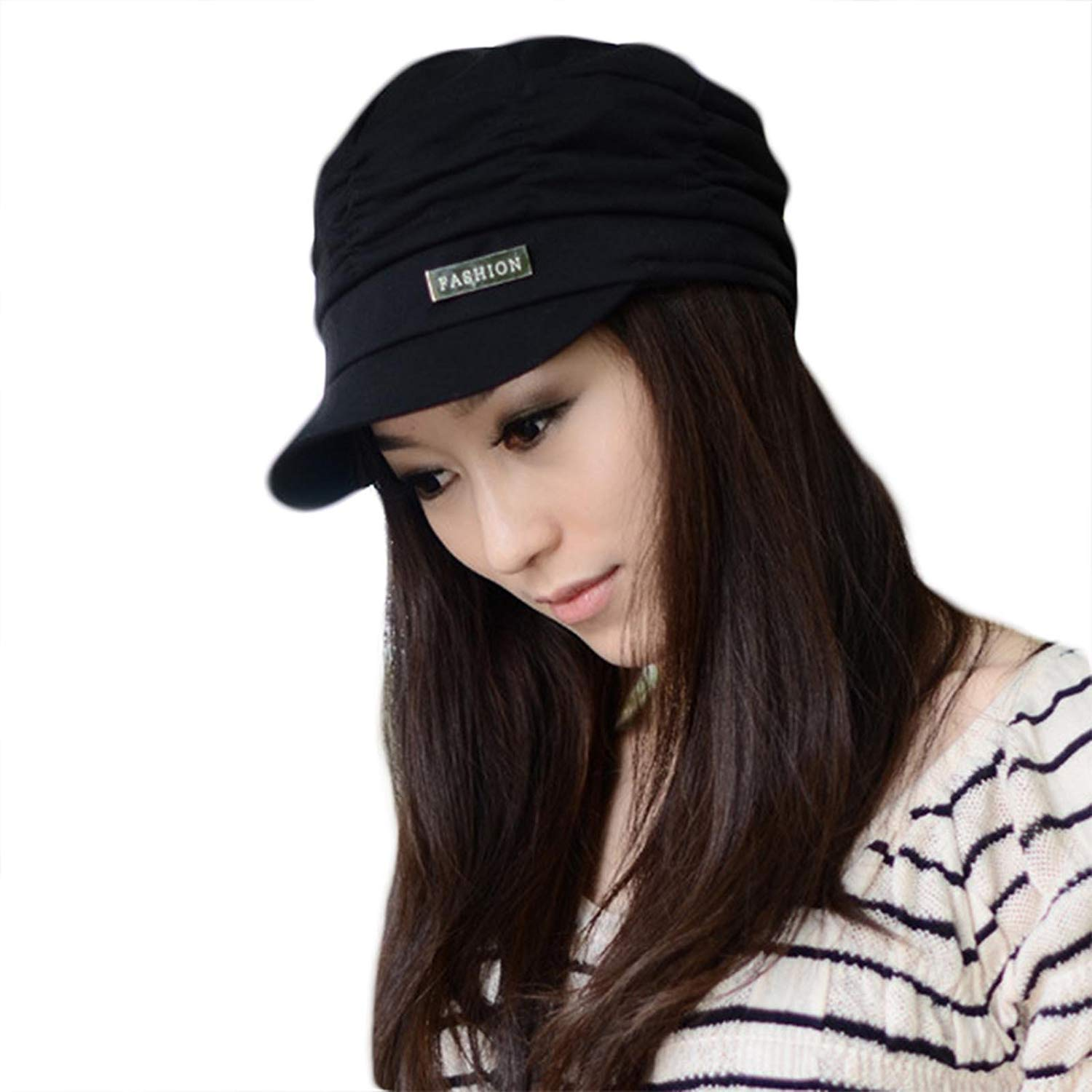 98dc14f10ff LOCOMO Women Girl Fashion Design Drape Layers Beanie Rib Hat Brim Visor Cap  FFH010BLK Black