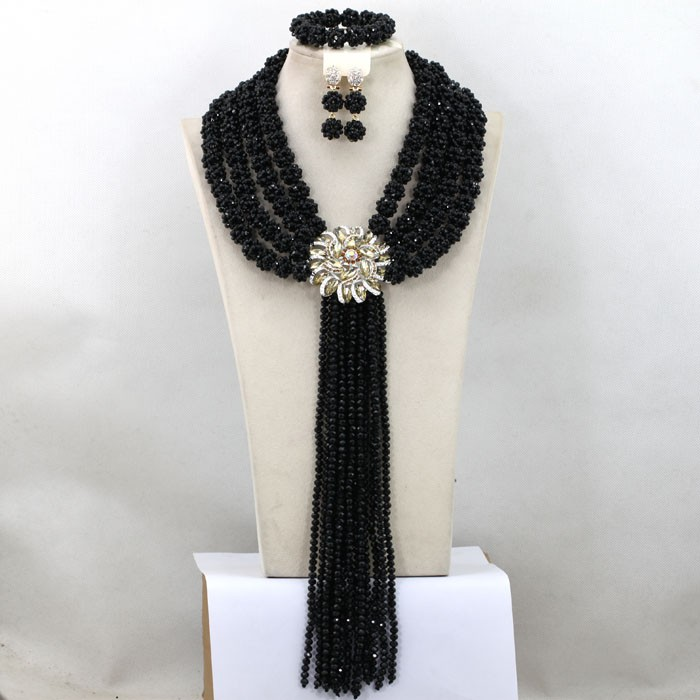 Fashion yellow Nigerian Beads Crystal Necklace Set Costume African Jewelry Set 2016 Long Tassel Necklace GWH0062