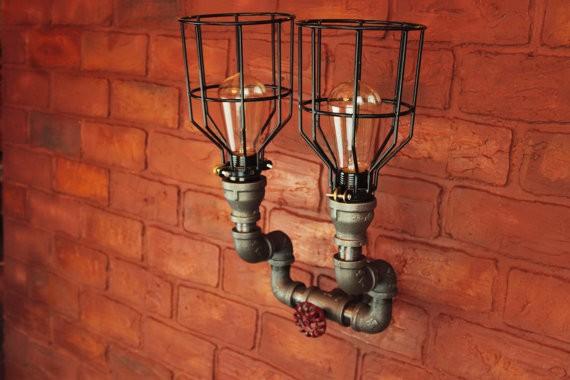 35 lectrique applique murale luminaire steampunk industrielle noir tuyau salle de bains. Black Bedroom Furniture Sets. Home Design Ideas