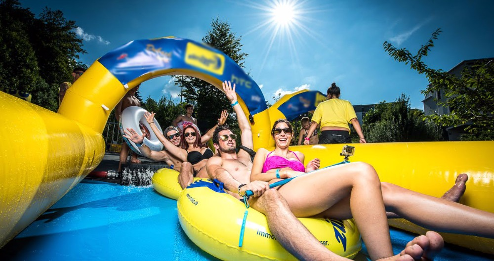 Inflatable water slip n city slide for summer
