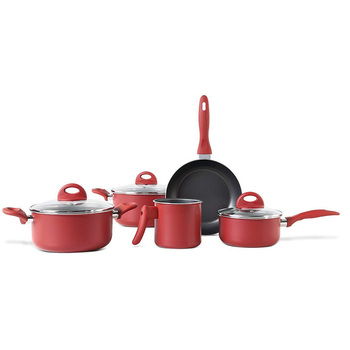 Economical aluminum Home used non stick kitchenware set Eco-friendly free oil 8Pcs non stick cooking pot and pan set