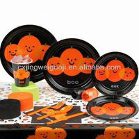 Halloween party set supply, disposable bbq set,disposable picnic tableware dinnerware set,paper party tableware knit