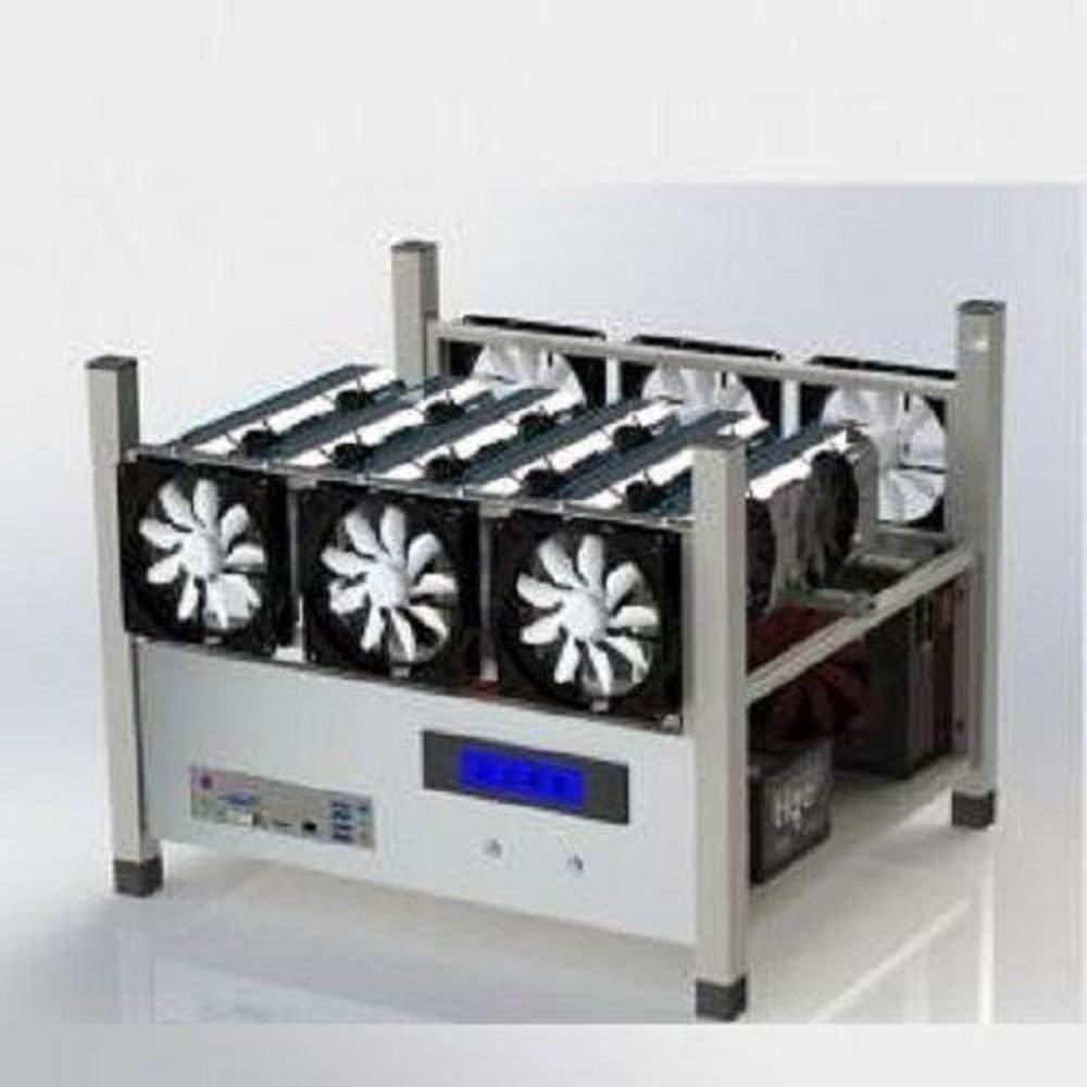 BitcoinMerch.com Crypto Coin Open Air Mining Frame Rig Case 6 GPU's ETH BTC Ethereum + 6 Fans (Crypto Coin Open Air Mining Frame Rig Case 6 GPU's ETH BTC Ethereum + 6 Fans)